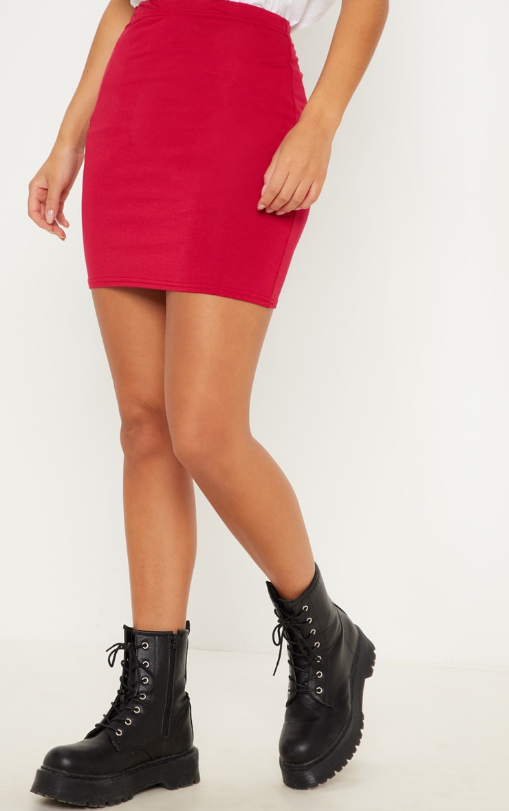 Crimson Basic Jersey Mini Skirt 2