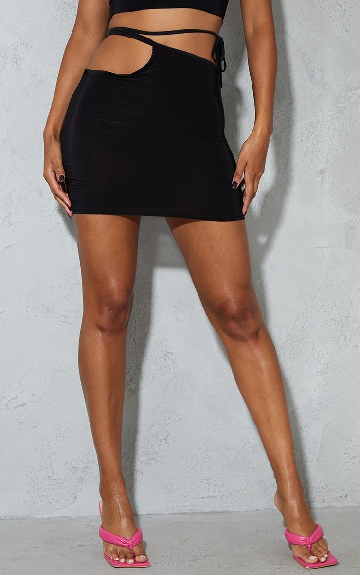 Black Cut Out Multiway Tie Waist Slinky Mini Skirt 2