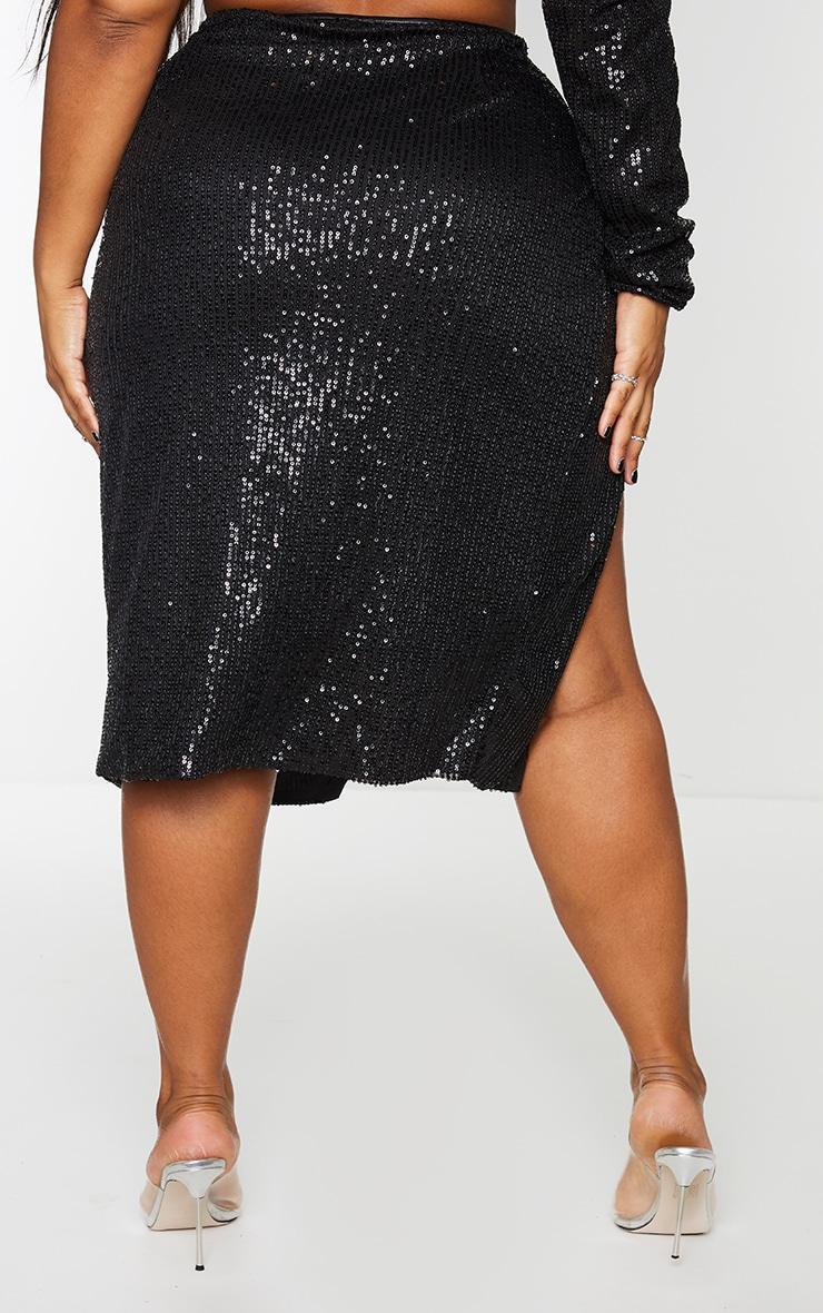 Plus Black Sequin Ruched Side Split Midi Skirt 3