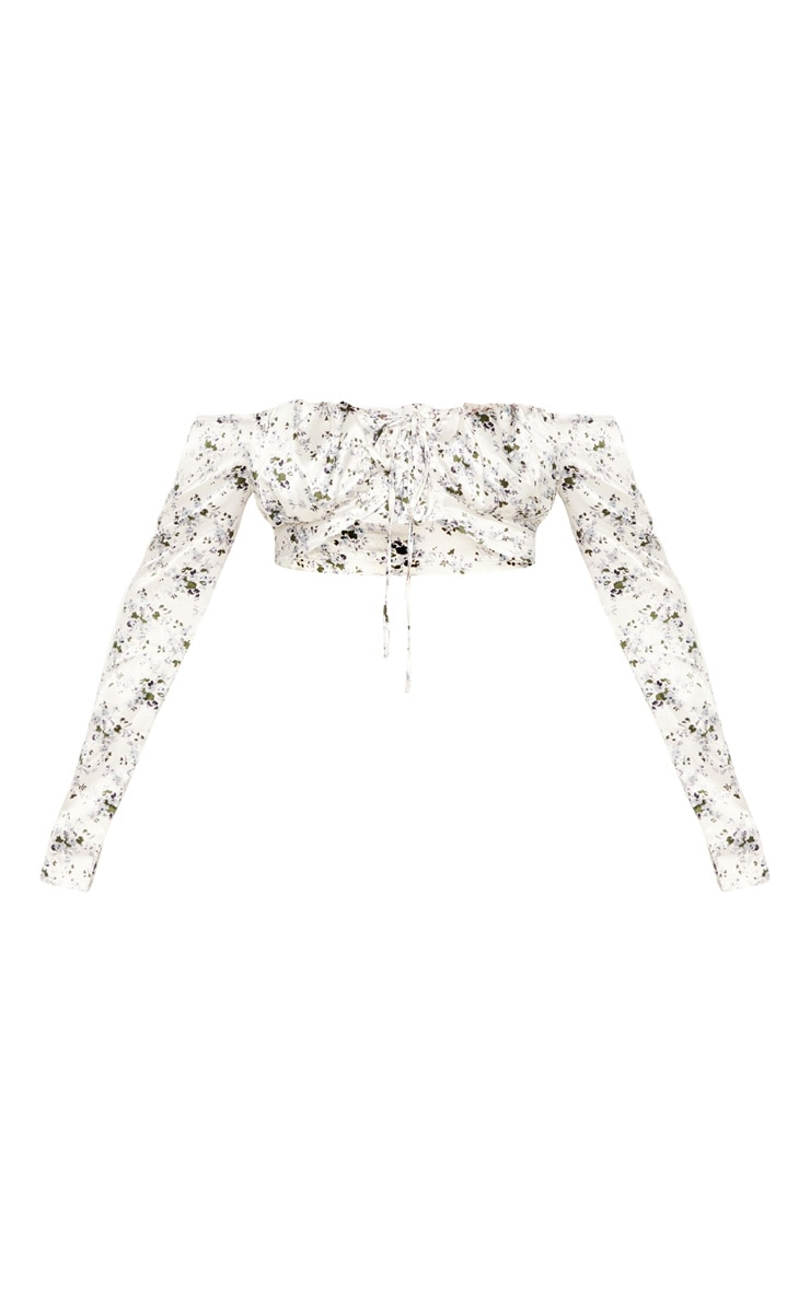 White Ditsy Floral Lace Up Cup Detail Bardot Crop Top 3