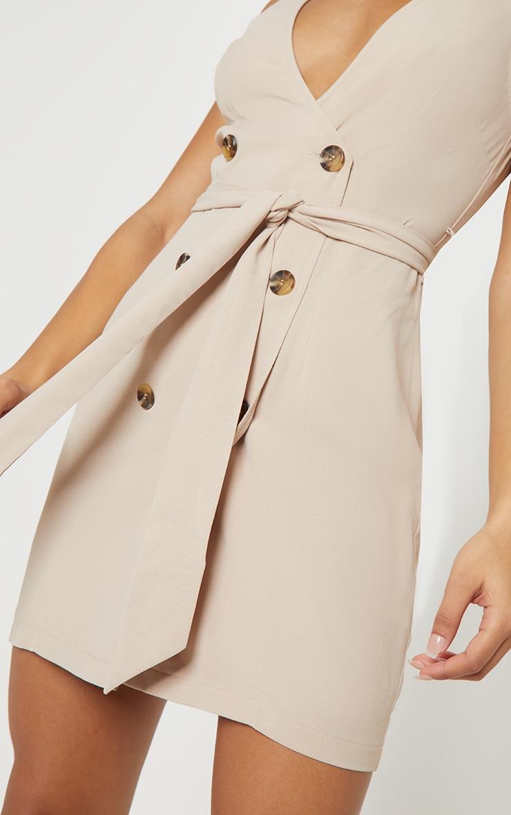 Beige Button Front Sleeveless Blazer Dress 5