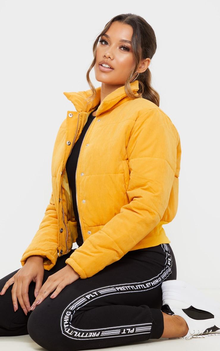 Mustard Peach Skin Cropped Puffer Jacket 4