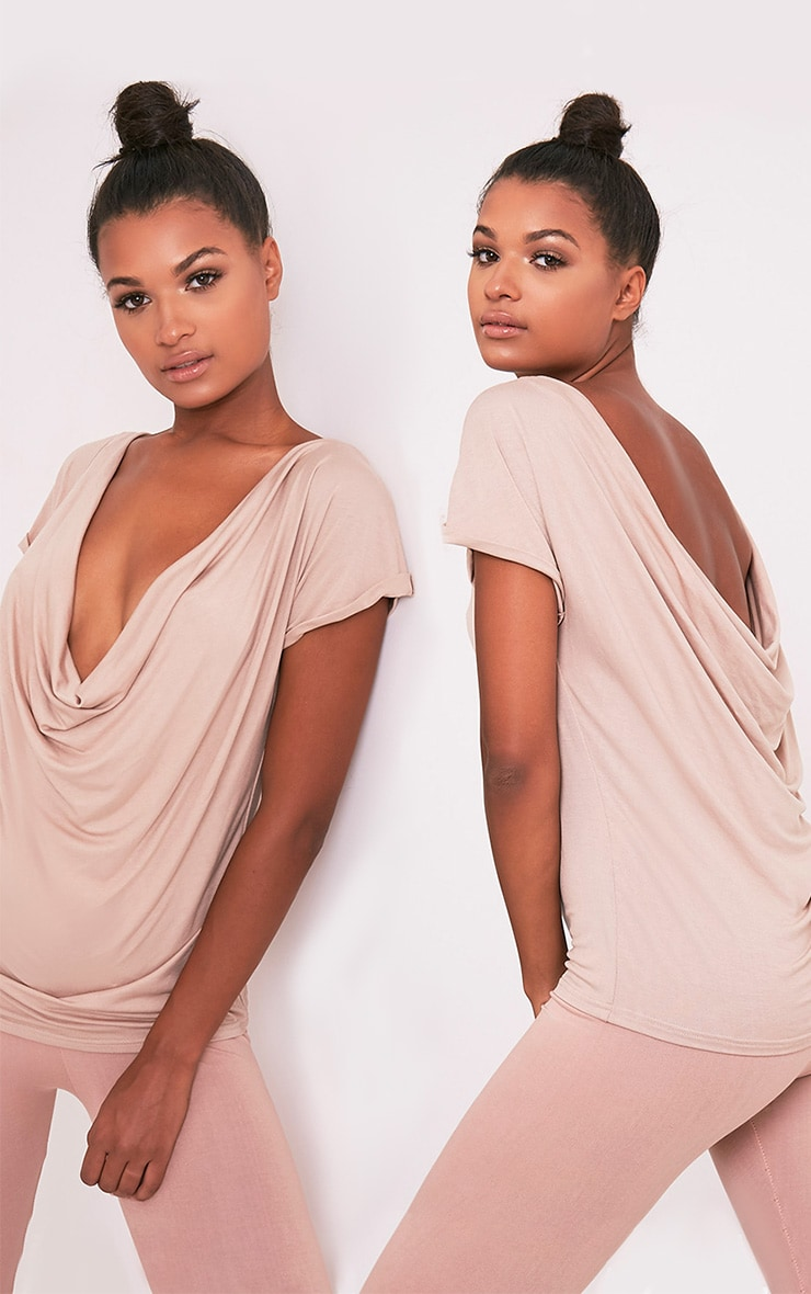 Bea Stone Multi Way Cowl Neck T Shirt 1