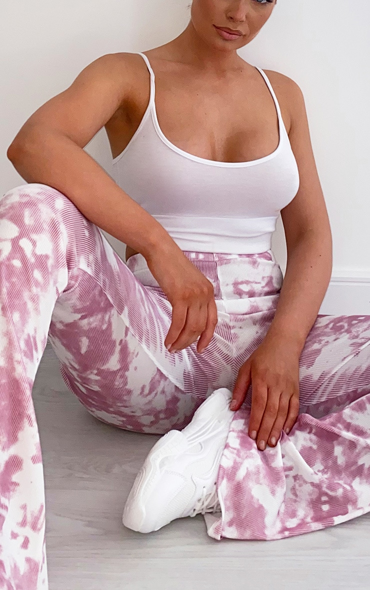 Pink Flared Tie Dye Trousers 4
