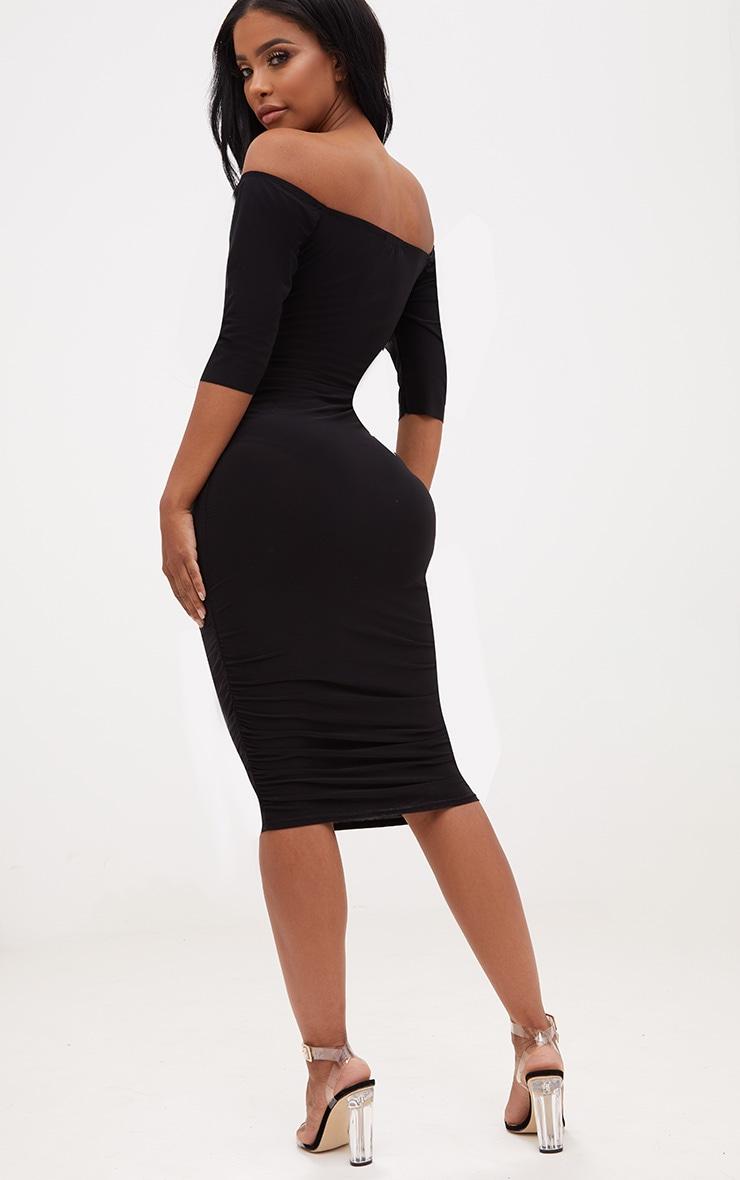 Shape Black Bardot Lace Up Ruched Midi Dress 2