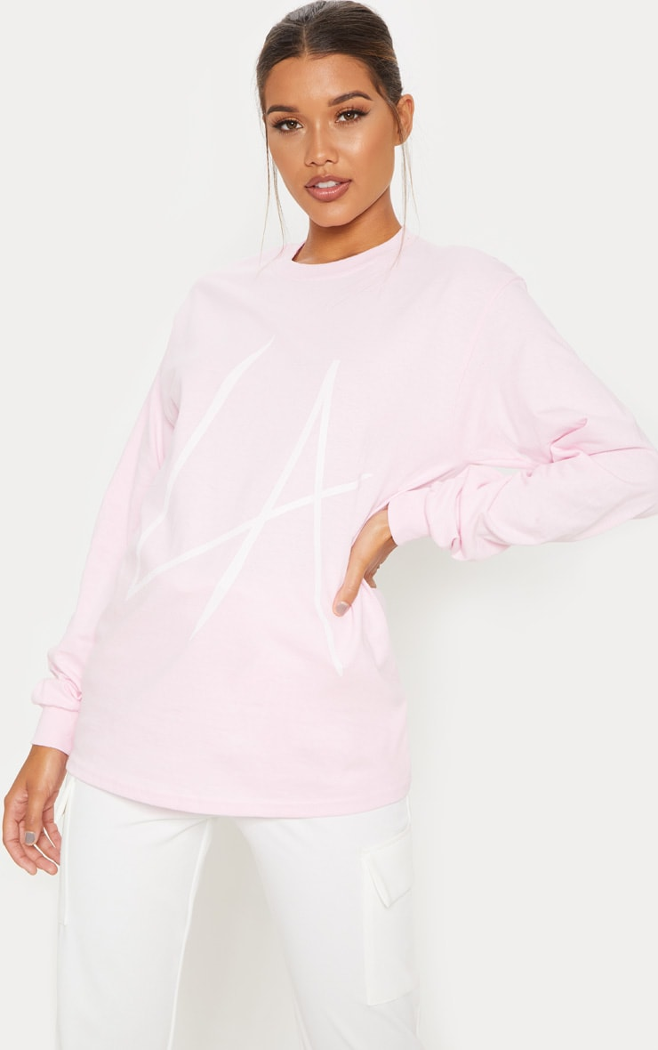 Pink LA Printed Oversized Long Sleeve T shirt