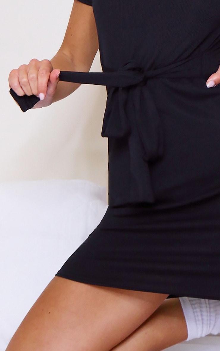 Black Rib T Shirt Tie Waist Dress 4