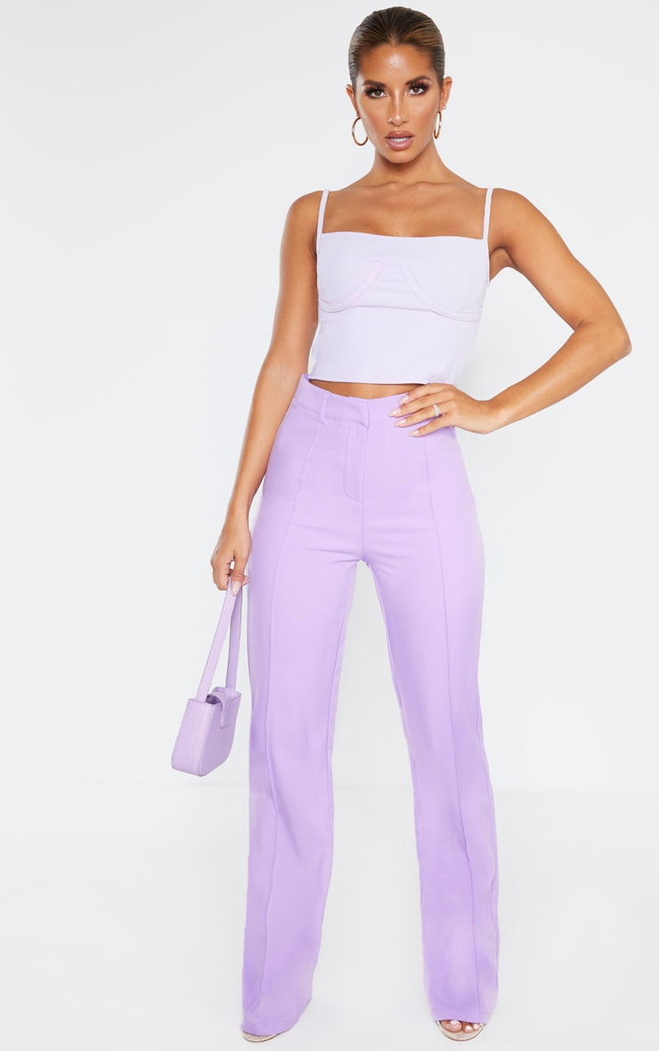 Lilac Bustier Detail Rib Crop Top 4