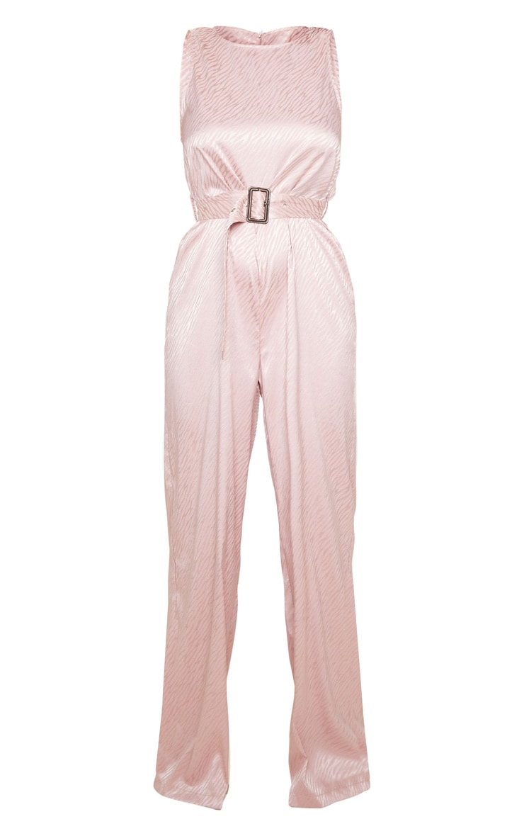 Dusty Pink Belted Sleeveless Wide Leg Jumpsuit 4