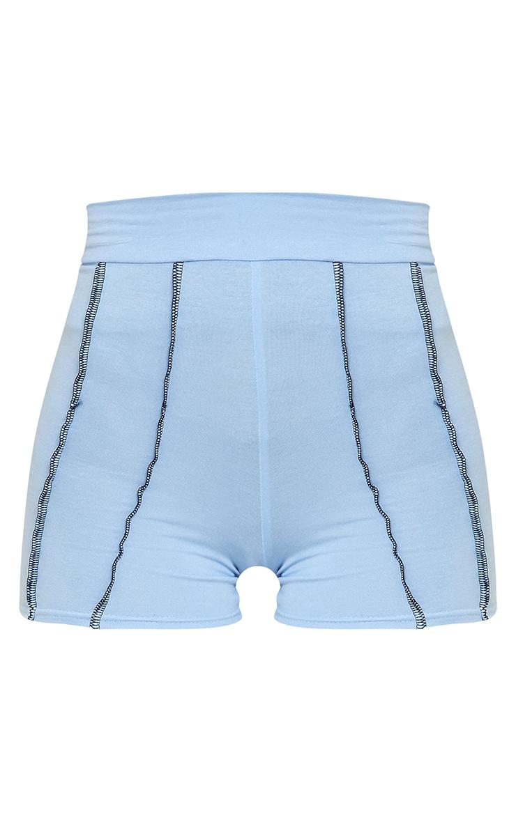 Cornflower Blue Cotton Seam Detail Hot Pants 6