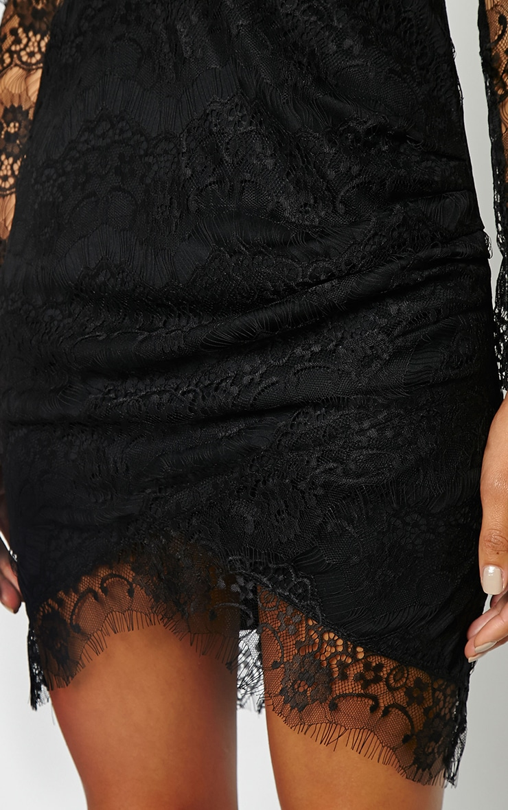 Giulia Black Lace Sleeve Plunge Dress 4