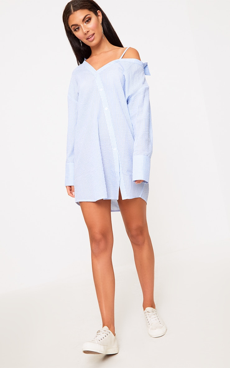 Blue Asymmetric Shirt Dress 1