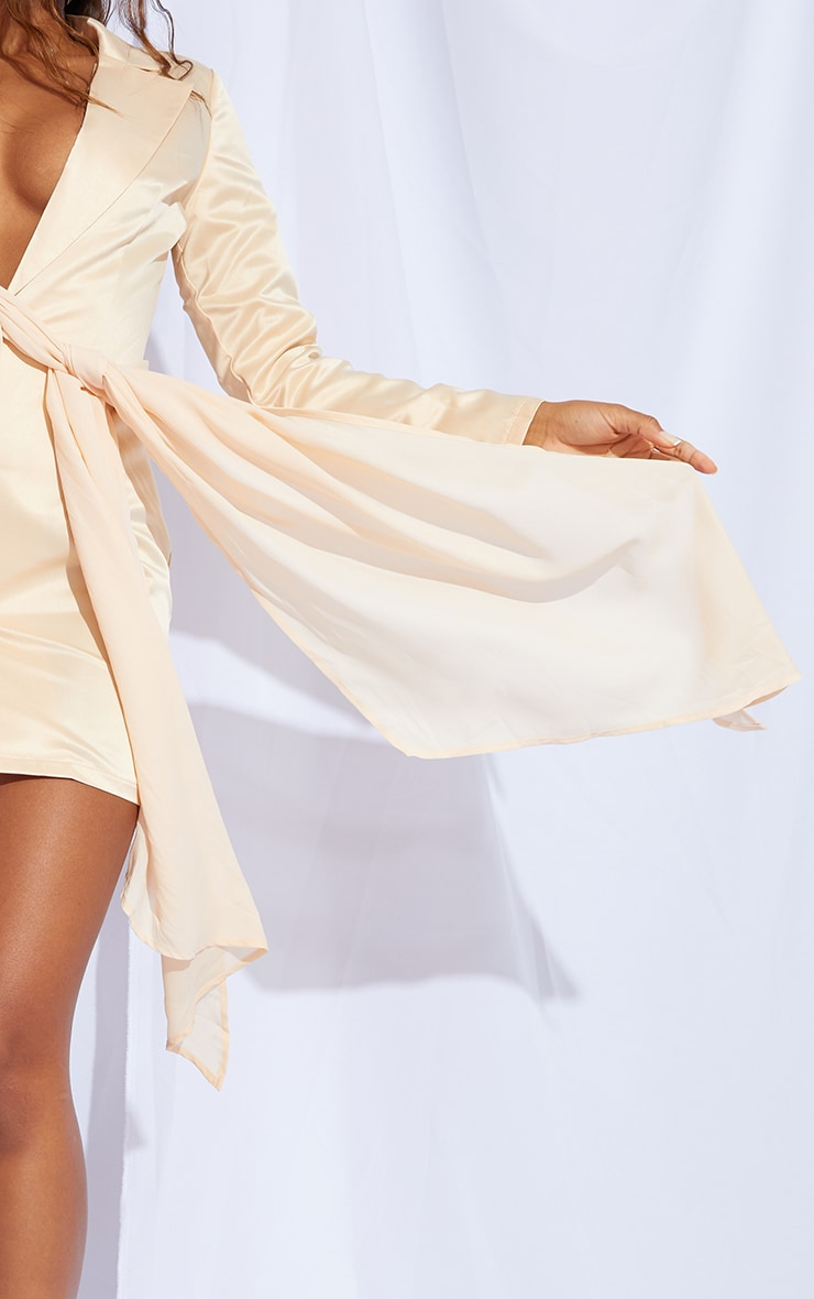 Champagne Satin Chiffon Drape Blazer Dress 4