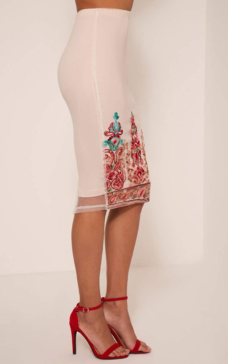 Kya Nude Embroidered Mesh Midi Skirt 5