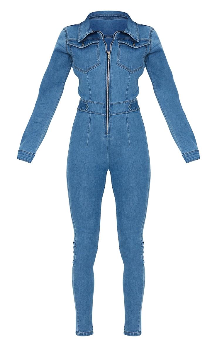 Vintage Wash Stretch Zip Through Denim Boilersuit 5