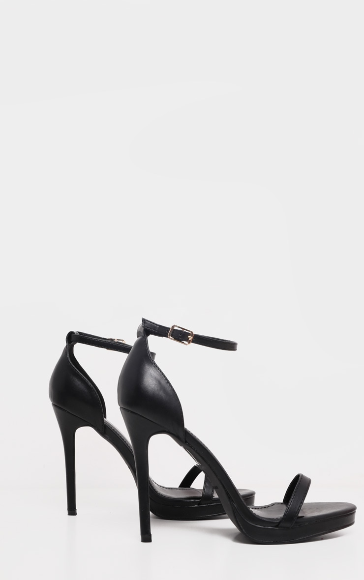 Enna Black Single Strap Heeled Sandals 3