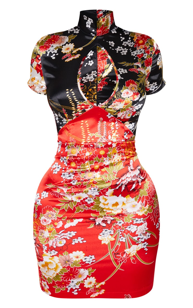 Shape - Robe moulante satinée rouge imprimée asiatique à découpe 3