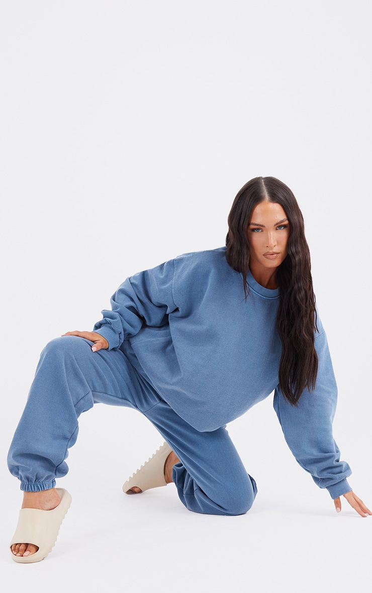 Recycled Mineral Blue Washed Oversized Sweatshirt 1