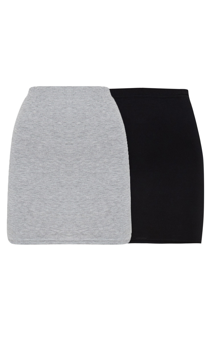 Basic Black & Grey Jersey Mini Skirt 2 Pack 2