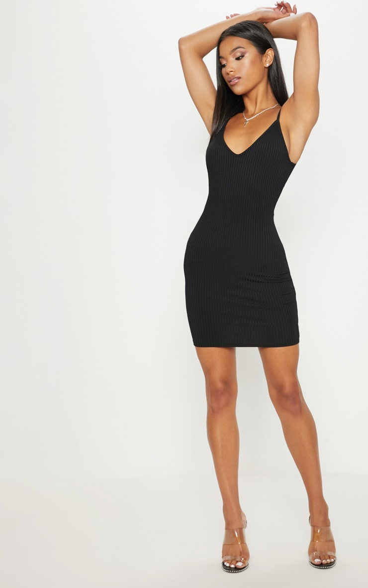Black Rib Plunge Strappy Bodycon Dress 4