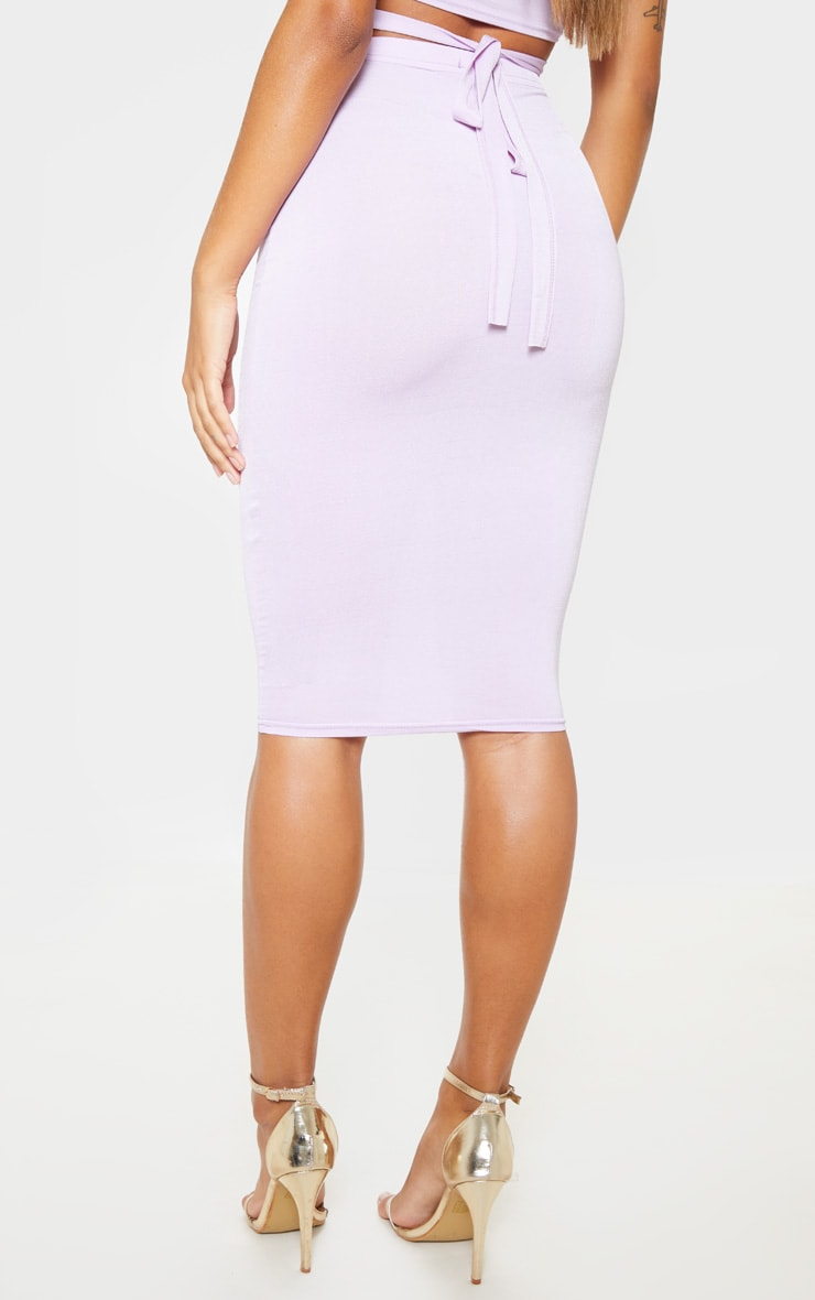 Lilac Slinky Midi Skirt 4