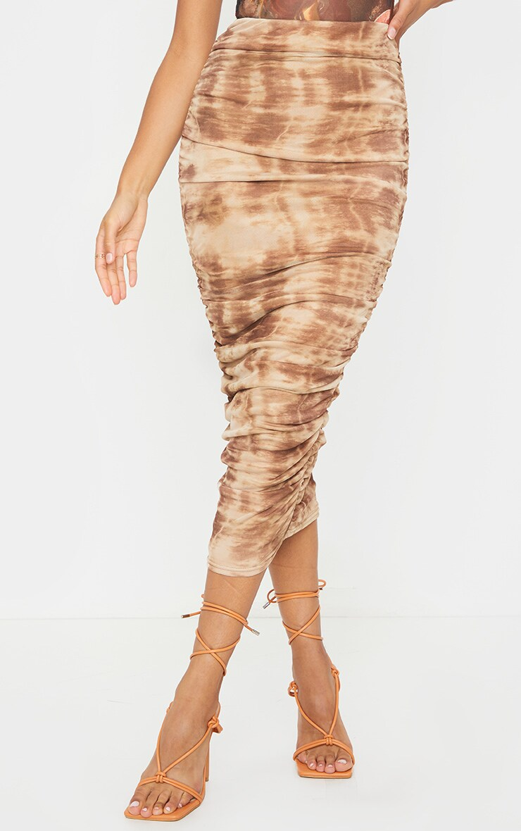Stone Tie Dye Mesh Ruched Midi Skirt 2