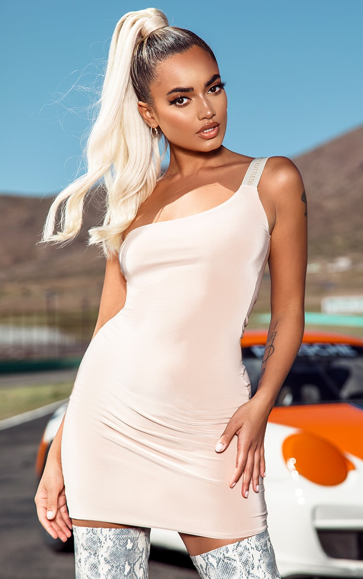 PRETTYLITTLETHING Petite Nude One Shoulder Slinky Bodycon Dress