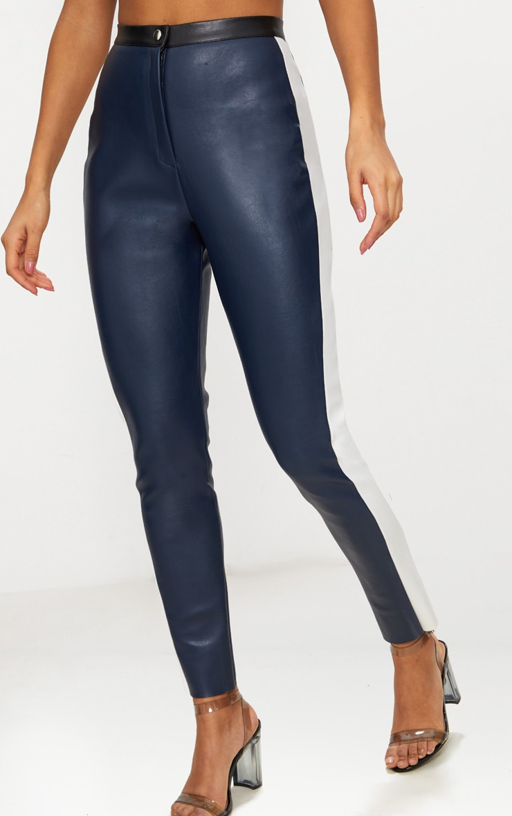 Navy Faux Leather High Waisted Panel Skinny Trouser 2