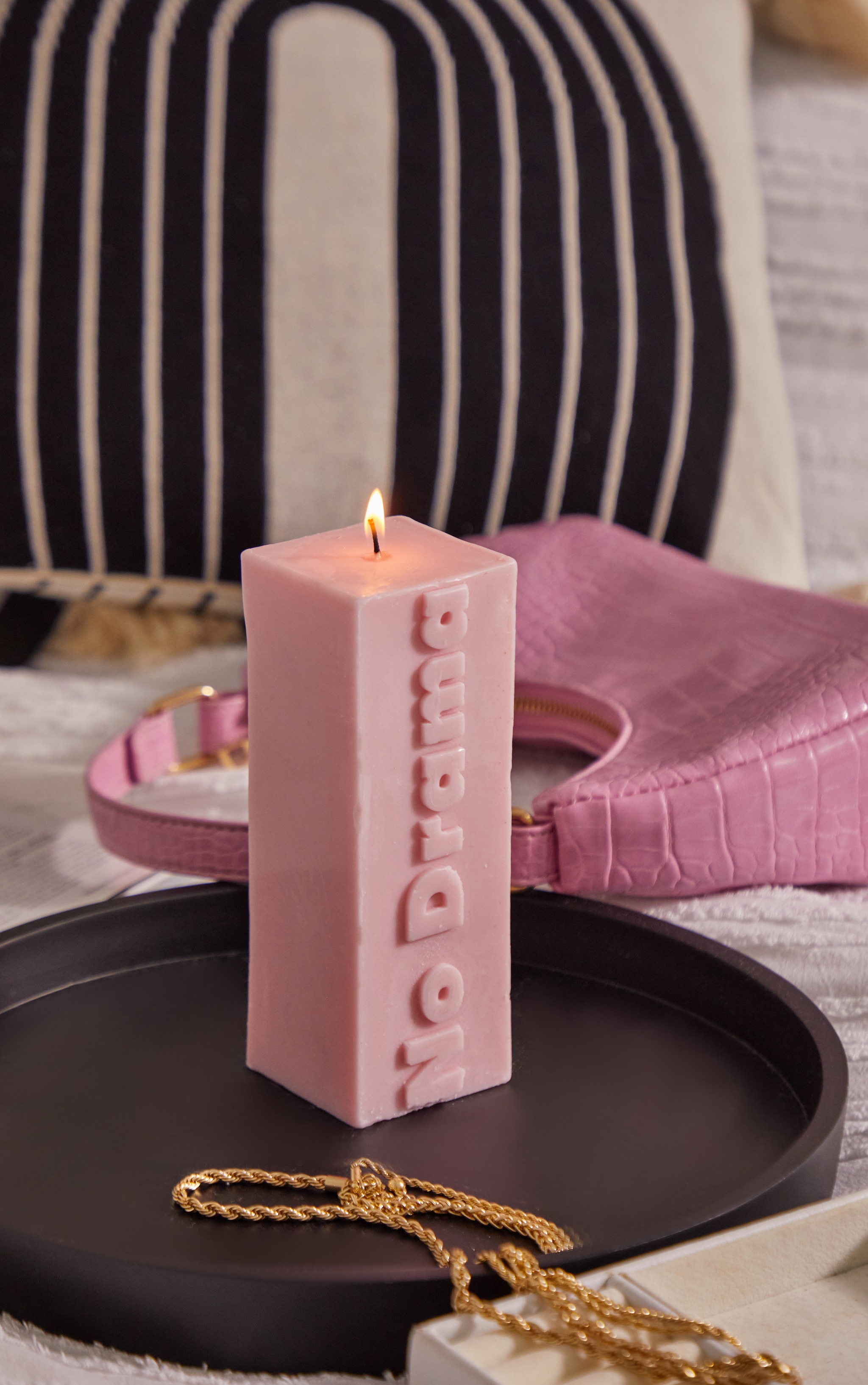 Baby Pink No Drama Graphic Candle 3