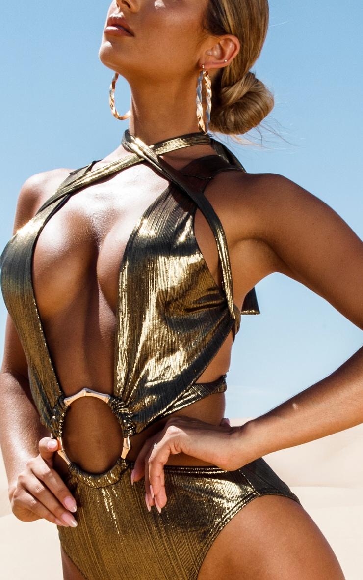 Gold Bamboo Ring Metallic Wrap Swimsuit 6