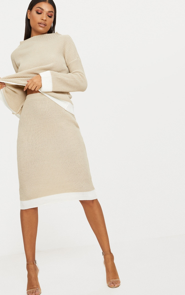 Stone Contrast Knitted Midi Skirt