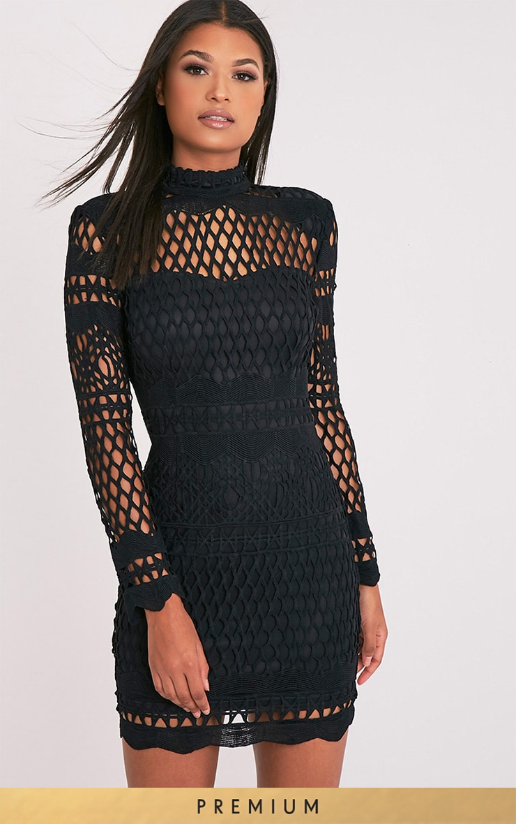 Lexi Black Crochet Lace Long Sleeve Bodycon Dress 1
