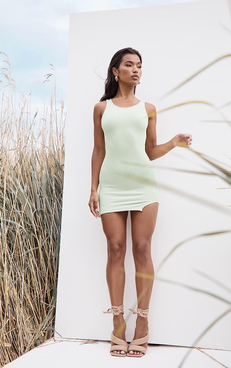 Mint Structured Contour Rib Sleeveless Bodycon Dress 3