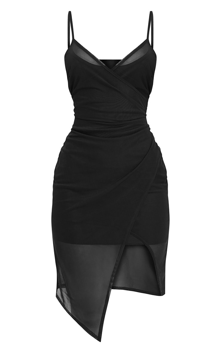 Hazel Black Wrap Front Mesh Midi Dress 3