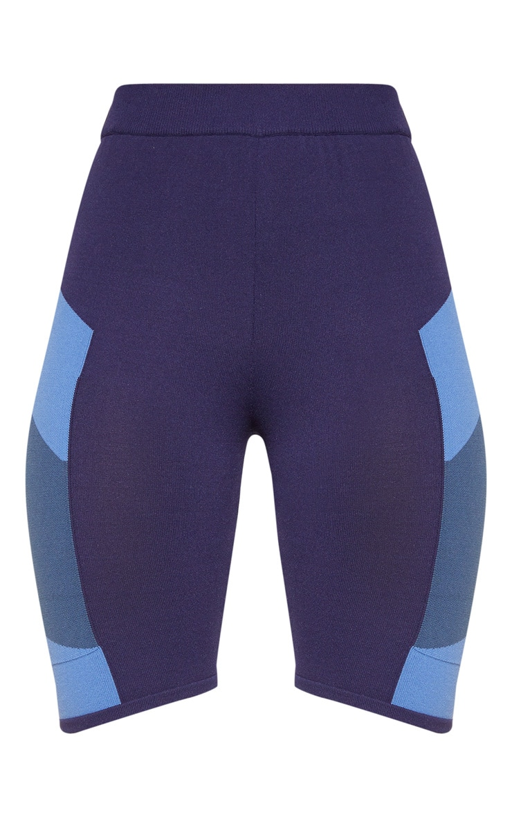 Blue Seamless Knit Gym Cycle Short 3