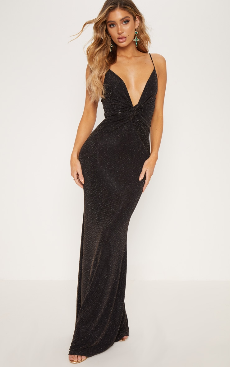 9f0fab47f1 Gold Glitter Knot Front Maxi Dress | Dresses | PrettyLittleThing USA