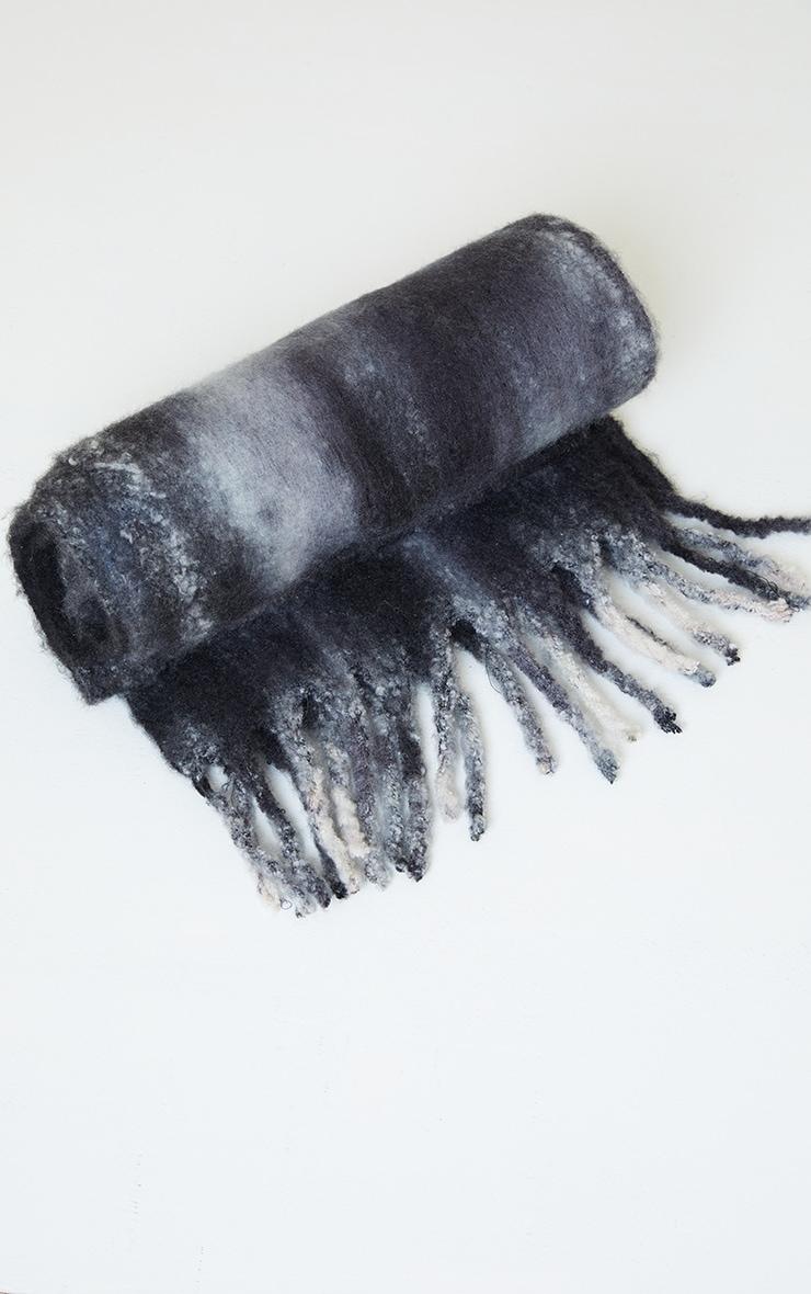 Black Brushed Tie Dye Scarf 2