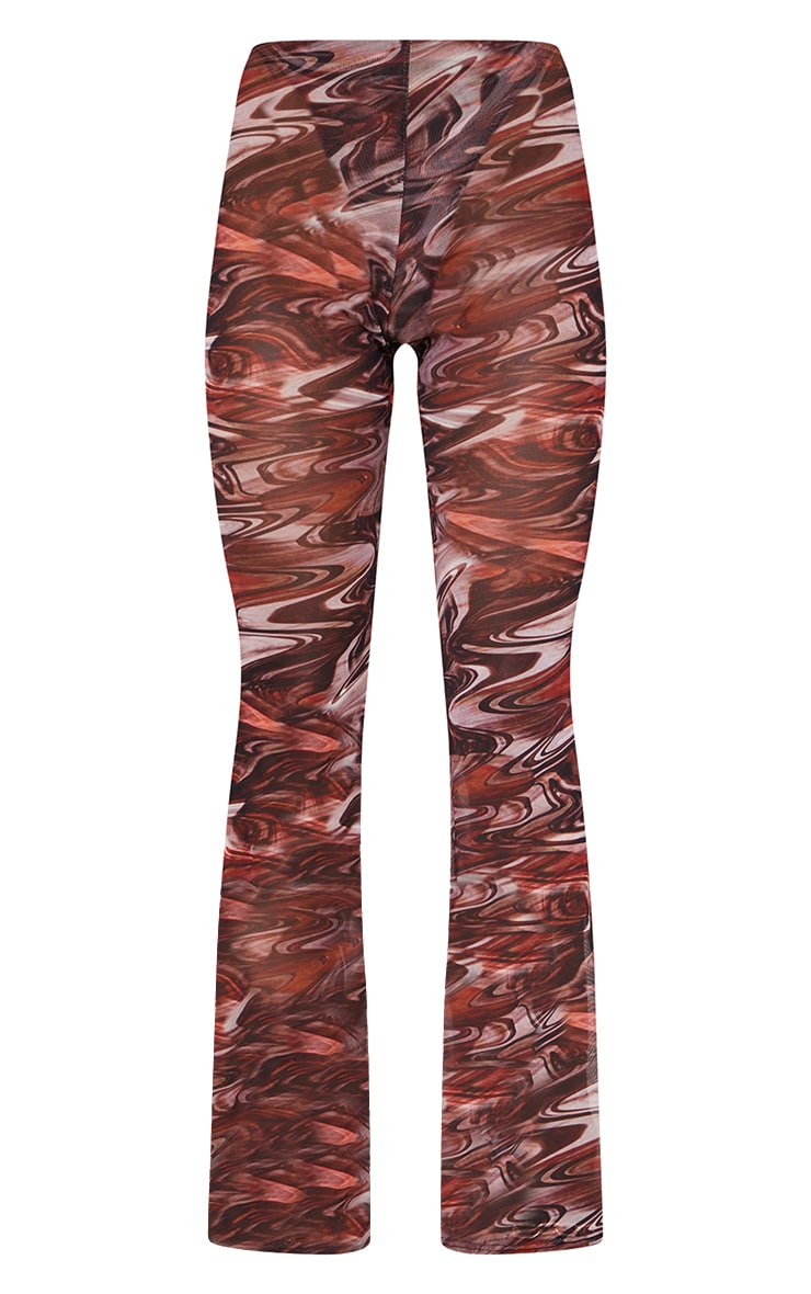 Chocolate Brown Printed Sheer Mesh Flared Pants 5