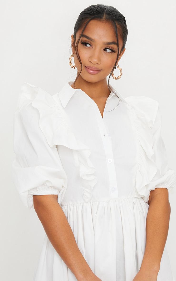 Petite White Ruffle Detail Shirt Dress 4