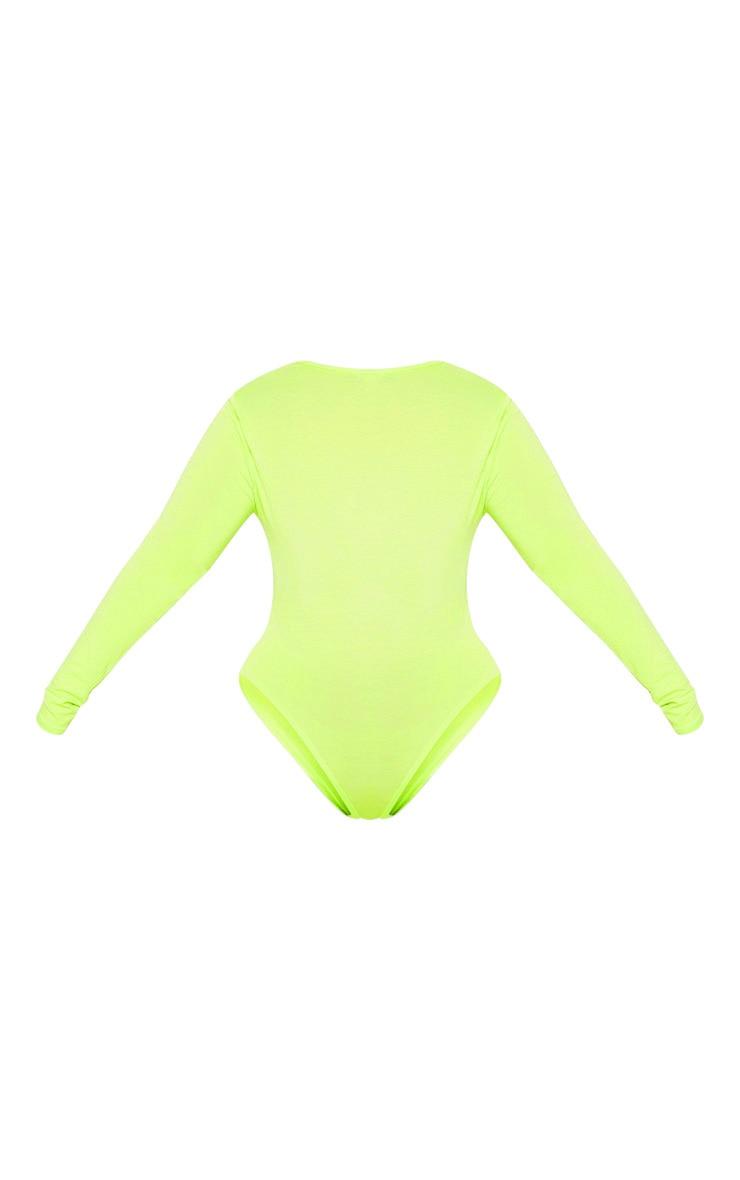 Plus Neon Lime Lace Trim Plunge Long Sleeve Bodysuit  4