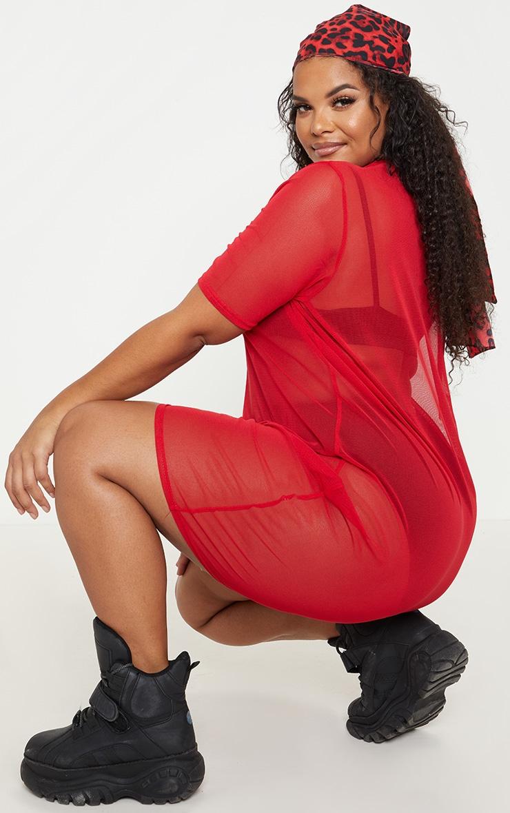 Plus Red Cap Sleeve Mesh Bodycon Dress 2