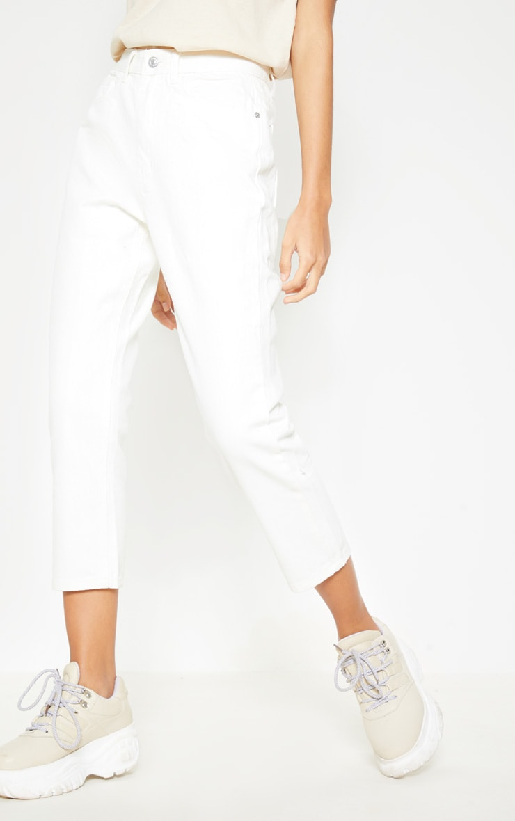 Cropped White Mom Jeans 2