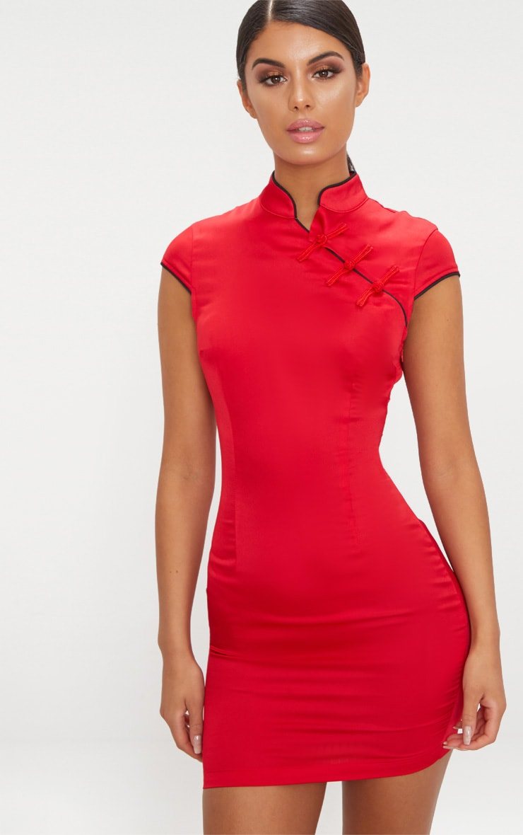 Red Satin Oriental Bodycon Dress 1
