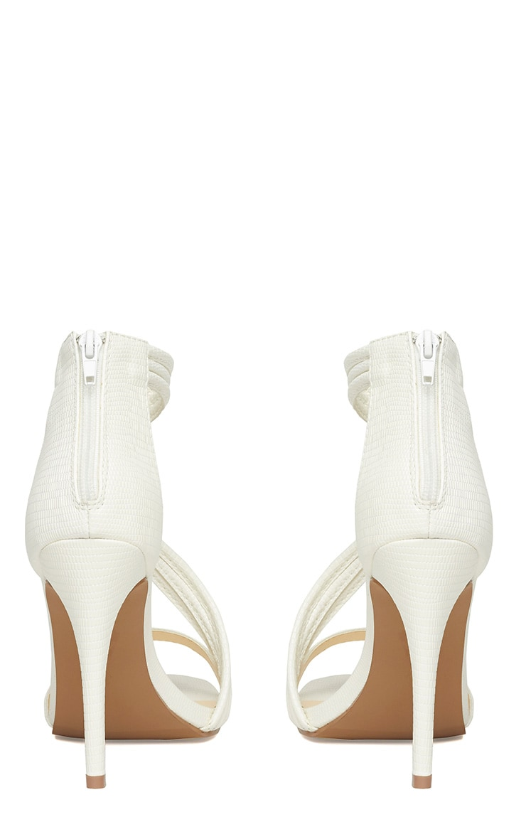 Riley White Cross Strap Heeled Sandals 8