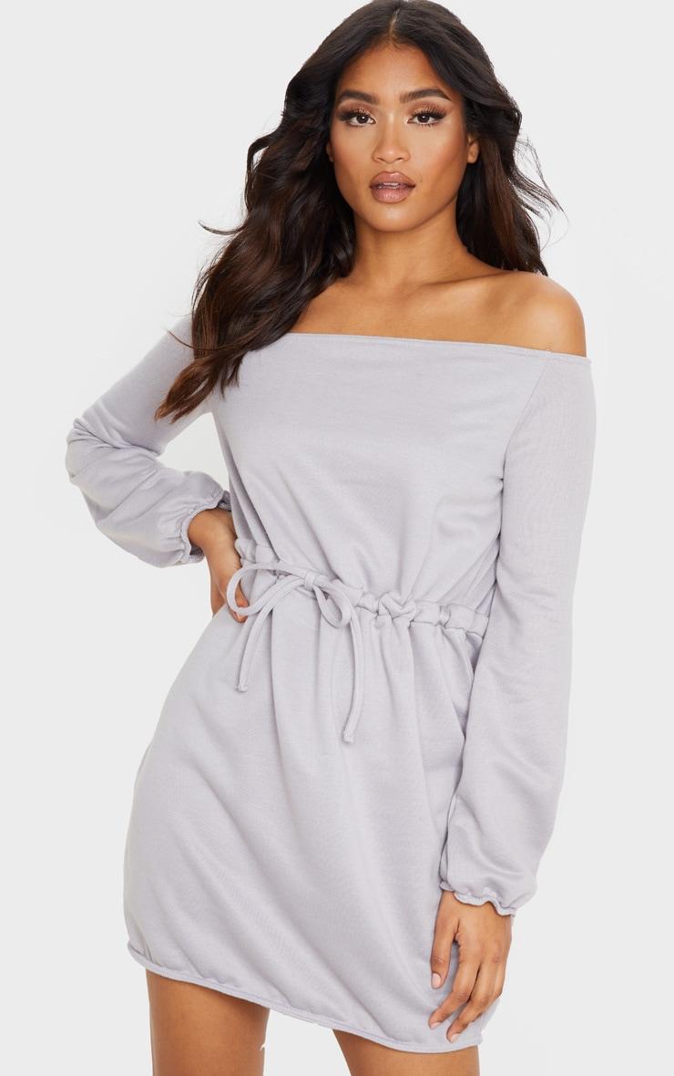 Grey Off Shoulder Elastic Waist Sweat Dress 1