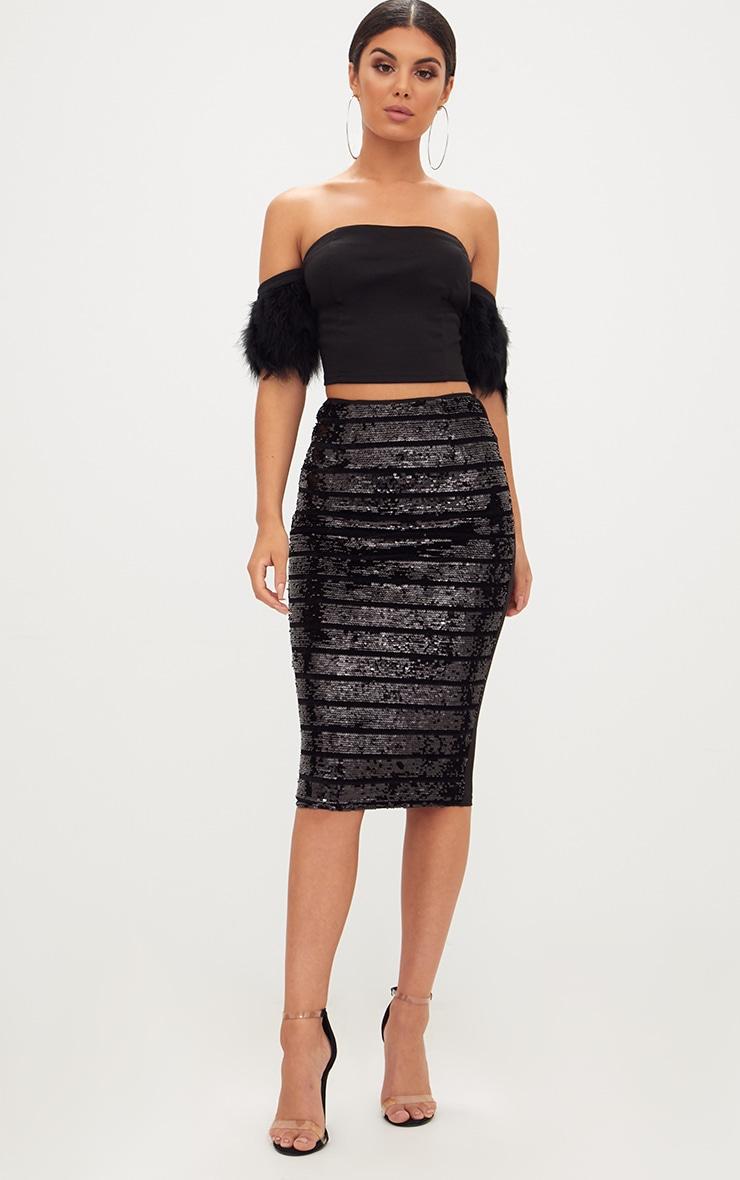 Black Sequin Midi Skirt 1
