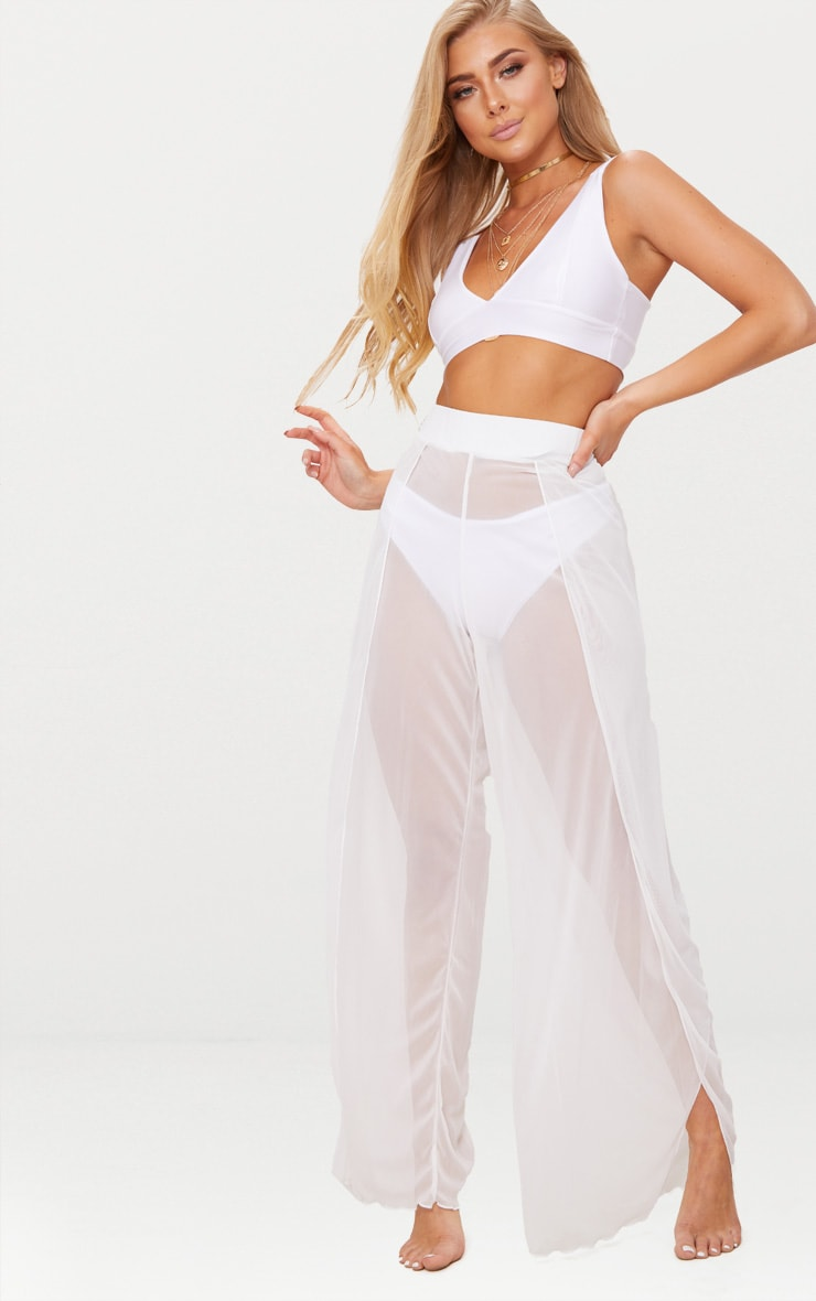 64eba12917 White Mesh Split Beach Trouser | Swimwear | PrettyLittleThing USA