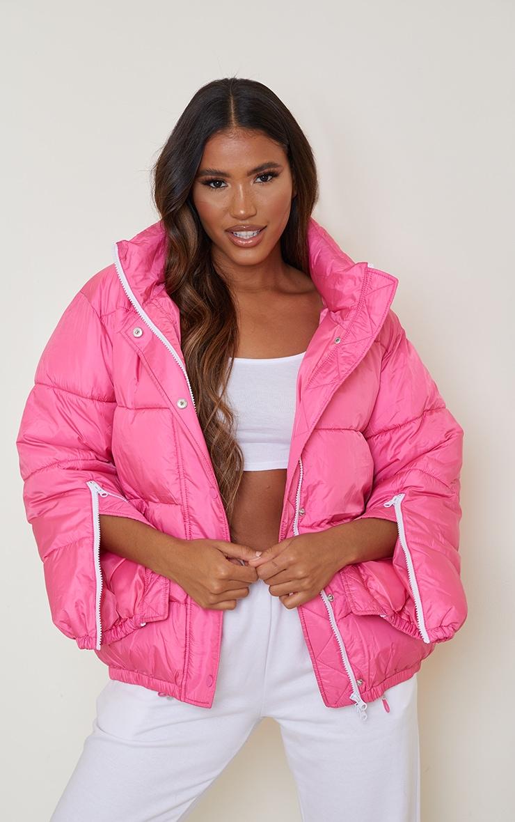 Pink Nylon Oversized Zip Sleeve Puffer Jacket 3