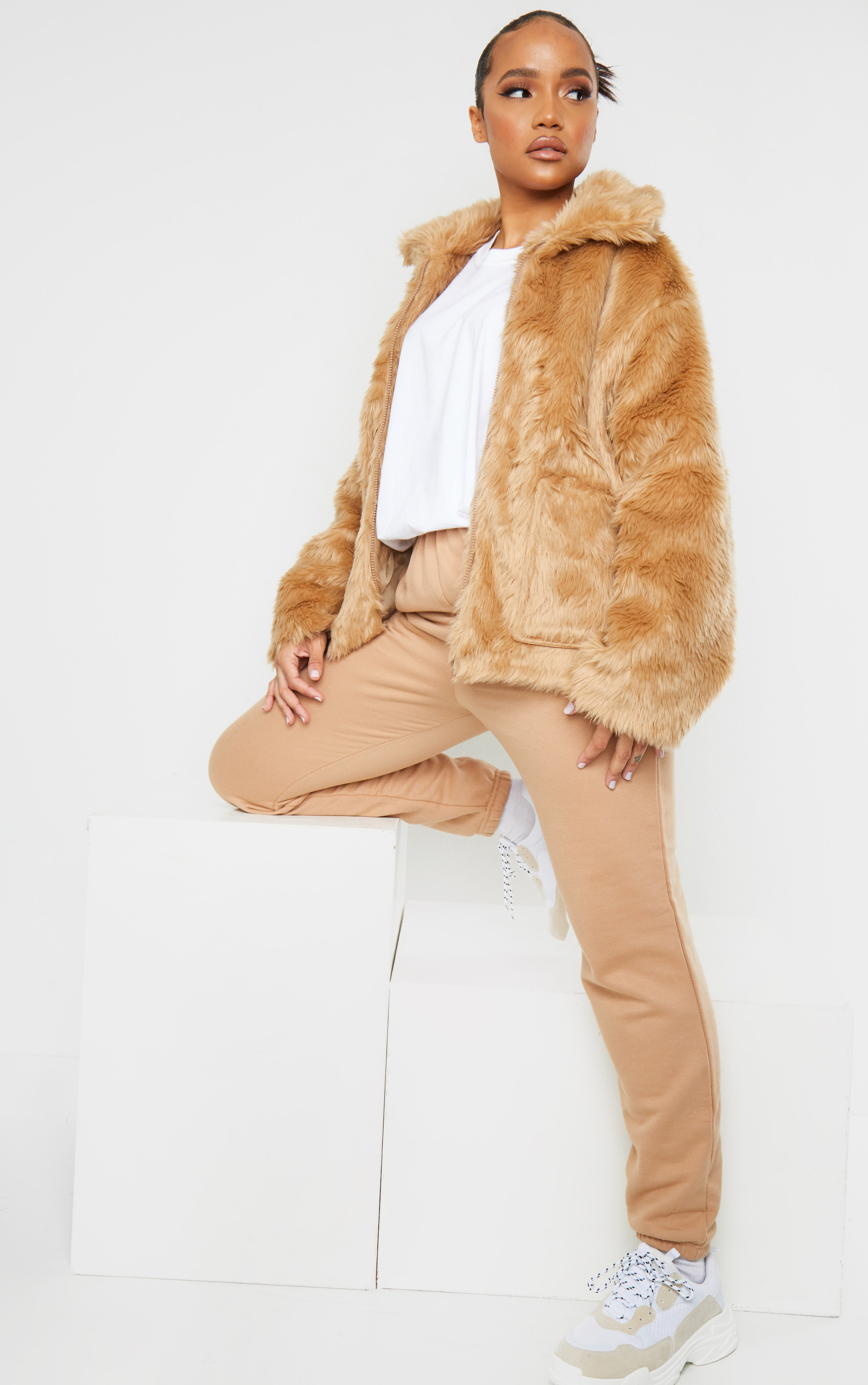 Camel Long Faux Fur Pocket Front Jacket 1