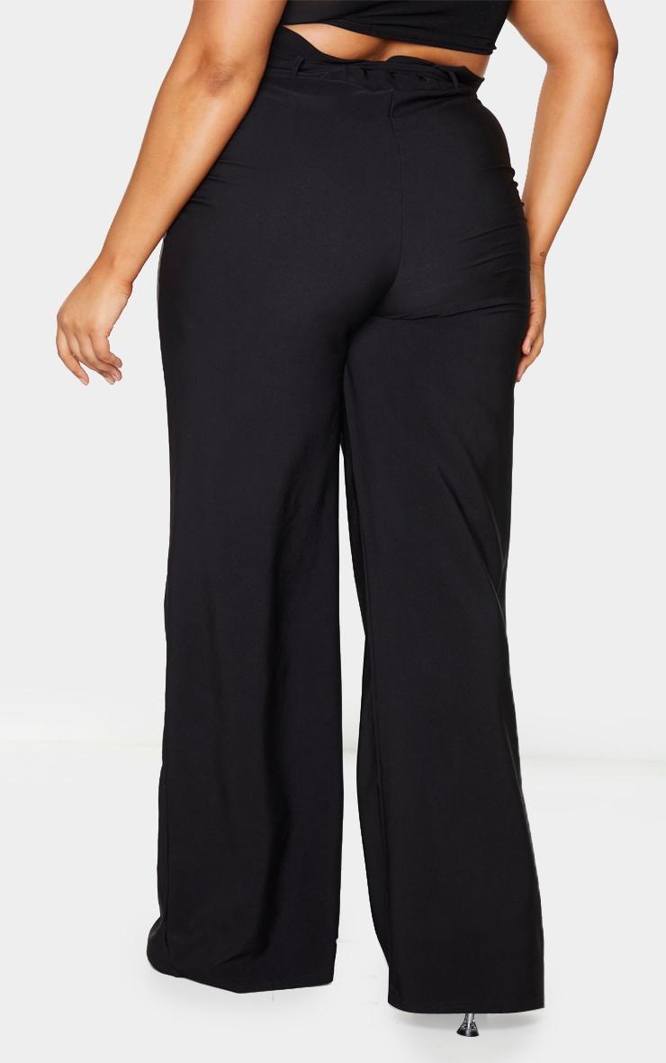 Plus Black Tie Waist Wide Leg Pants 3